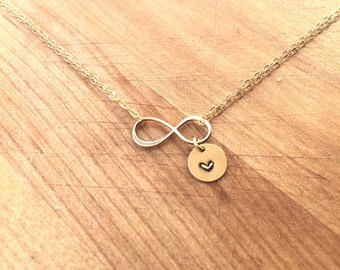 Double Strand Infinity Necklace with 9mm Charm. Sterling Silver or Gold Filled 16 inch chain
