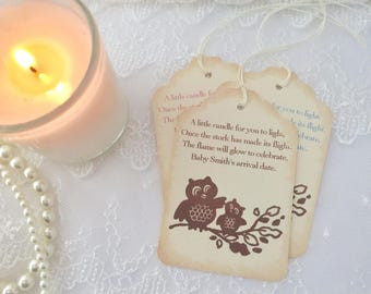 Candle Favor Tags Baby Shower Owls Once the Stork has made its Flight Set of 10