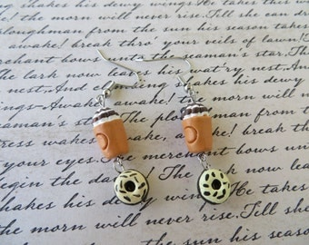 Iced Coffee And Donuts Dangling Clay Bead Earrings