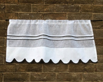 White Sheer Kitchen Cafe Curtain, Black Lace Linen Curtain,  French Curtain, 30 inches wide Scalloped Window Valance