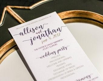 "Purple and Gold Wedding, Event Program, Bat Mitzvah Event, Wedding, Program, Special Event - ""Whimsical Calligraphy"" Flat Program - DEPOSIT"
