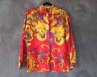 90s Versace Versus Silk Scarf Blouse Cherub Angel Gold Red Floral Blouse Size 40 S/M