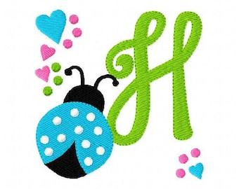 Ladybug with Hearts and Dots // Embroidery Monogram Design Set // Mongram Embroidery Font // Ladybug Embroidery Design // Joyful Stitches