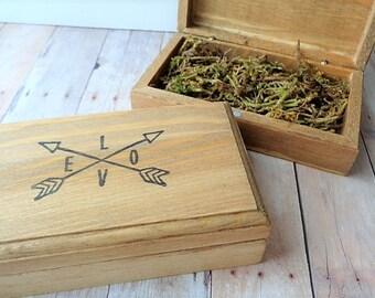 Ring Bearer Box Rustic Woodland Wedding Crossed Arrows Love Valentine's Day Keepsake