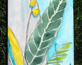 """Nature painting GREEN LEAVES yellow flowers original abstract painting- 8""""x24"""" yellow blue green by devikasart"""