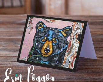 The Four Black Bears wise and lumbering Art Pack Animals Wild Art cards pack of FOUR folk art animal art greeting card canadian wildlife