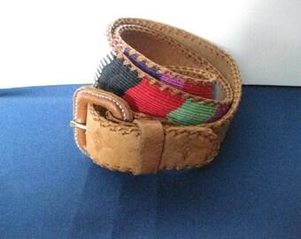 Vintage Guatemalan Belt Leather and Cotton Belt Size 30 Boho Chic Clothing Ethnic Hippie Style Handmade Tooled Belt