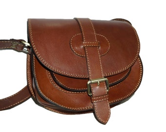 Brown Leather Saddle Bag Messenger Cross-body Purse Goldmann Size S