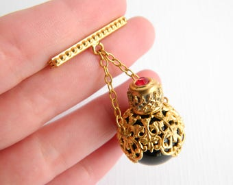 Antique Victorian Gold Gilt Filigree Jeweled Perfume Brooch - Emerald Green Glass Bottle - Vintage Chatelaine - Trombone Clasp - 1940