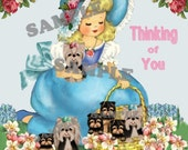 thinking of you, Vintage girl with Yorkies, Yorkshire terrier card topper,  digtial, download, printable, puppies
