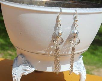 Silver Gray Tassel Earrings Bead Earrings with Rhinestones Boho Free Shipping in the U.S.