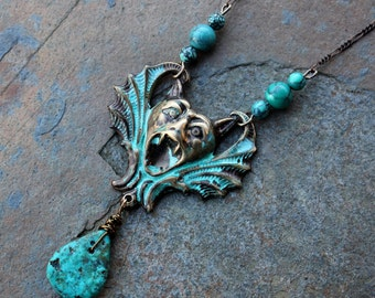 Gargoyle Necklace- Antiqued Brass Charm with Verdigris Patina, Turquoise beads & teardrop, Antiqued brass figaro chain- free shipping in USA