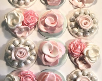 Fondant Elegant Flowers and Pearl Cupcake, Cake, Cookie Toppers Set of 12