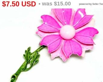 Flower Power in Hot Neon Pink Brooch - Vintage Enamel Pin - Mod Posey