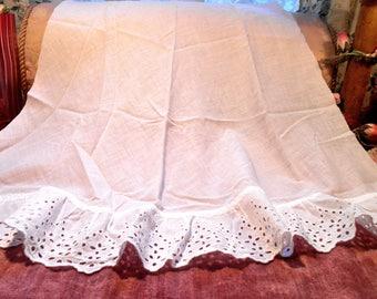 Antique Lace Batiste Petticoat Panel Cotton Eyelet Lace Trim