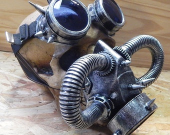 STEAMPUNK MASK GOGGLES Set - 2 pc Distressed Silver Steampunk Respirator Gas Mask with Tubes Spikes and Goggles with Interchangable Lenses