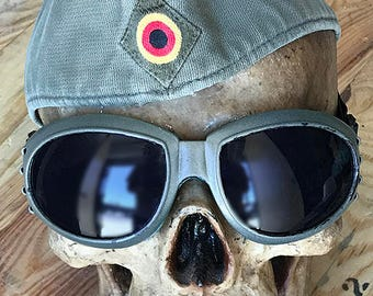 Olive Drab Vintage German Military Army Insignia 'GARRISON' Cap w/ Matching Goggles-Burning Man Playa Steampunk Cap Goggle Set-Used/Cleaned