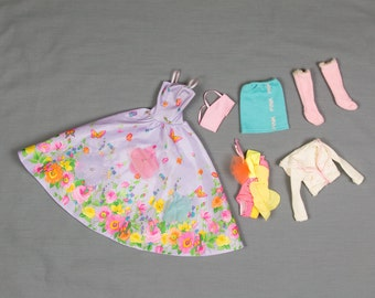 Barbie fashion clothes 3 outfits Long ball gown, One piece bathing suit with accessories, Skirt and Jacket with Bandeau and Thigh high boots