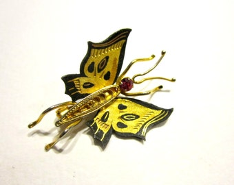 Vintage Butterfly Brooch Damascene Brooch Pink Rhinestone Gold Pin Vintage Butterfly Jewelry Gift for Her Gift Idea Under 10