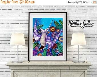 50% Off Today- Bird Art - Flowers FOLK ART Print Bird Garden  Art Print Poster by Heather Galler