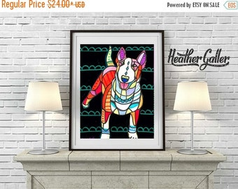 50% Off Today- Bull Terrier Art Dog Art Poster Print of painting by Heather Galler Painting (HG231)