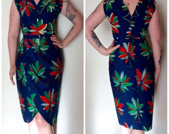 Handmade Vintage 50s inspired skirt and top set. Fabulous midnight blue with flower paytern. African fabric