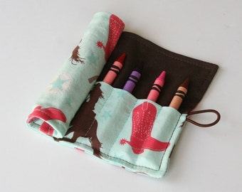 Crayon Caddy Roll Up - Cowgirl (8 Crayons Included) - Ready to Ship!