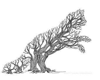Frisking Trees - ink illustration drawing of a cat made of trees in a forest optical illusion art