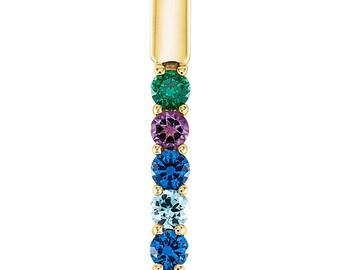 1 to 5 Family Birthstone Bar Slide Pendant, 14K Rose, White, or Yellow Gold, Family Birthstone Pendant Necklace, Custom-Made for Your Family