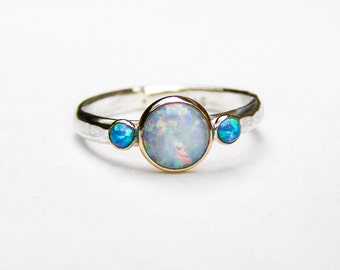 Engagement Ring, Opal ring, wedding ring, Anniversarry ring, Moonstone ring , Blue Opals ring, women's gift, gift idea -MADE TO ORDER