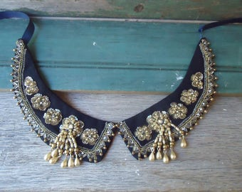 Antique Beaded Sequined  Dress Collar