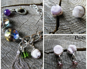 Earring and Bracelet Set, Bracelet and Earring Set, Jewelry Sets for Bridesmaids, Bridesmaid Jewelry, Crystal Jewelry Set, Druzy Set