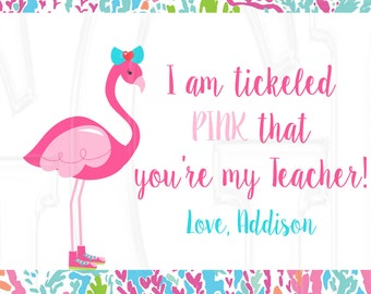Flamingo Teacher or Friend gift tag -Digital File