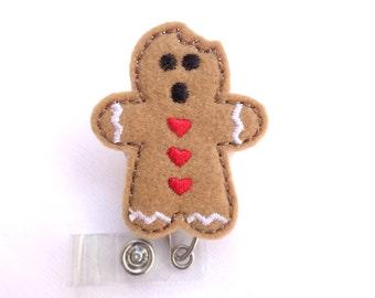 Christmas holiday badge holder retractable - Gingerbread Man with bite - tan felt - nurse badge reel medical staff