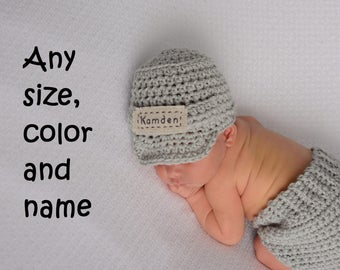 Newborn Personalized Name Hat -  Monogrammed Baby Clothes - Custom Baby Boy Hat - Infant Boy Crochet Hat - Baby Name Hat - Baby Boy Gifts
