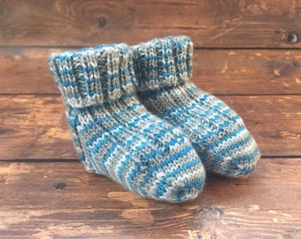 Blue Baby Booties - Blue Hand Knit Baby Socks - Knitted Baby Boy Booties - Knit Socks for Babies - Newborn Booties - Gifts for Babies