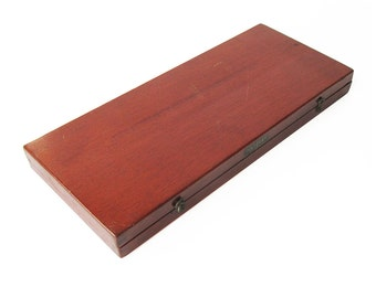 Vintage Wooden Dietzgen Box, Drafting Tool Box, Artists Box with French Curves, Drawing Curves