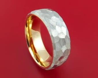 Cobalt Chrome and 14K Yellow Gold Sleeve Ring Rock Hammer Finish Custom Made Band