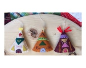 Three Little TeePees teepee ornaments
