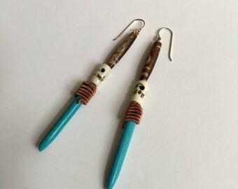 Copper Batik & Turquoise Howlite Spear Earring