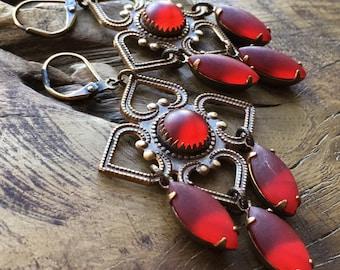 Red velvet earrings, medieval chandelier earrings, ruby red, antique brass, bohemian, theatrical