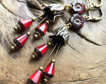 Cherry red flower earrings, antique brass, garden, woodland, bohemian, romantic, fairy
