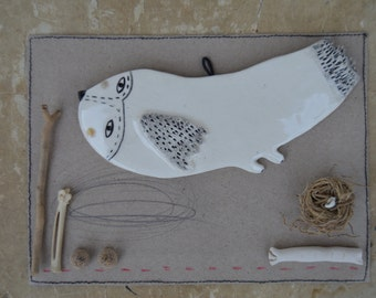 Bird 3 - Ready to ship - Hanging Decor - Ceramics - Spring Clay Plate