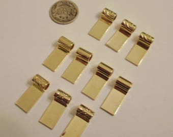 Ten (10) Gold Tube Top Bails - Assorted - Jewelry Design and Glass Fusing