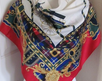 """Large White Red Colorful Ladies Soft Poly Scarf - 33"""" Inch 86cm Square"""