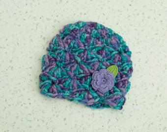 Newborn Girl Purple Blue Shell Beanie Flower Hat Violet Aqua Soft Ready to Ship