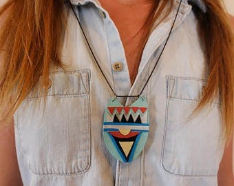 SALE: Modern Light Blue, Turquoise and Red Geometric  x Polyurethane and Leather Southwestern Necklace