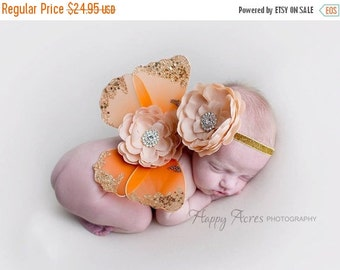 CHRISTMAS SALE Orange and Gold Wing Set, Newborn Photo Prop, Baby Girl Prop, Glitter Wings, Fairy Wings, Newborn Wing Set, Baby Wings and He
