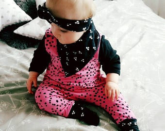 Polka Dotty harem romper - baby girl romper - organic cotton - organic baby clothes - hot pink - all in one - polka dot - baby style - spot