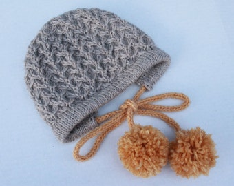 Hand Knit Wool Baby Bonnet. Baby Bonnet with Pompoms.Natural Baby Bonnet Mustard Pompoms.Winter Retro Baby Wool Hat.Warm Baby Hat with Ties.